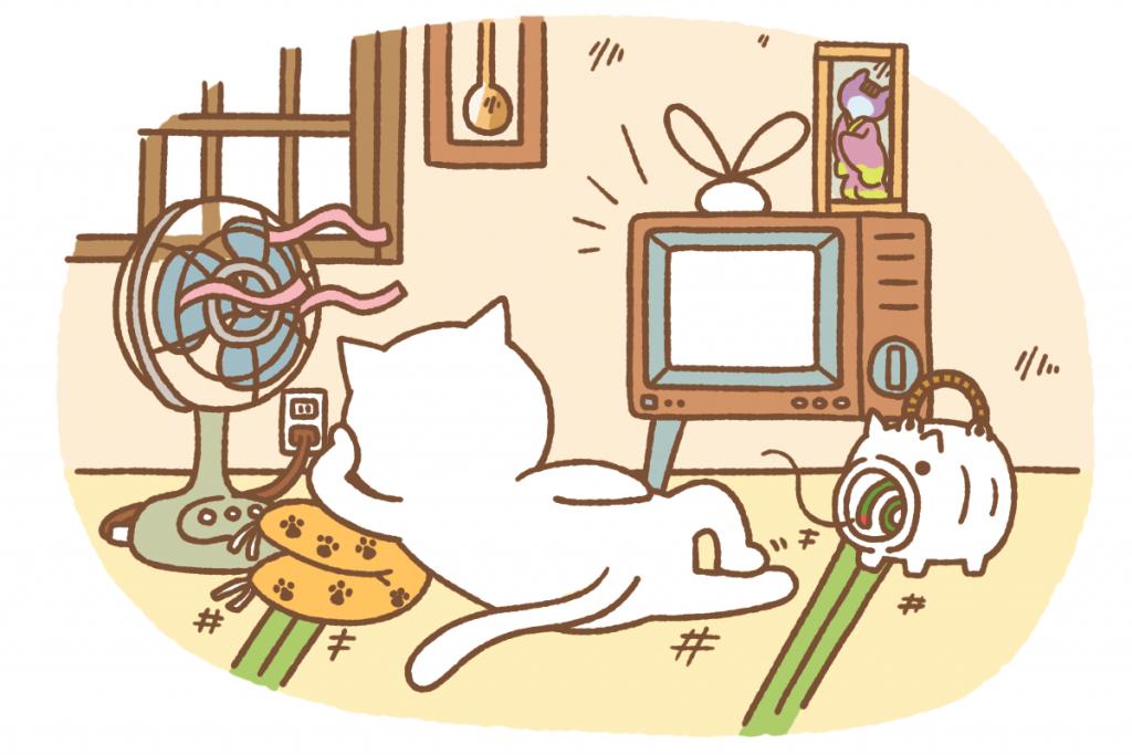 テレビをくつろいで見る猫